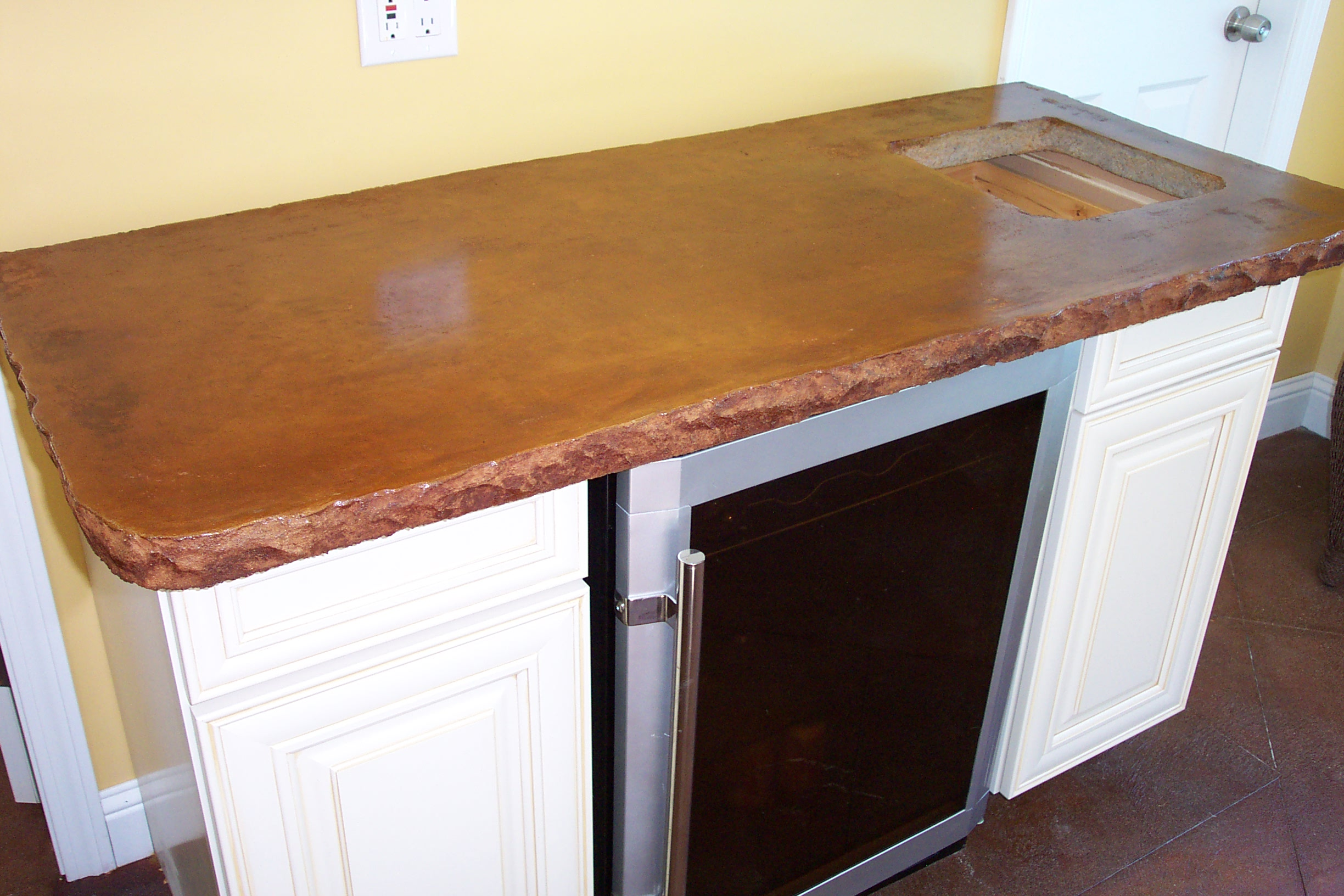 Click To Enlarge The Matching Acid Stained Concrete Counter For The Wet Bar.
